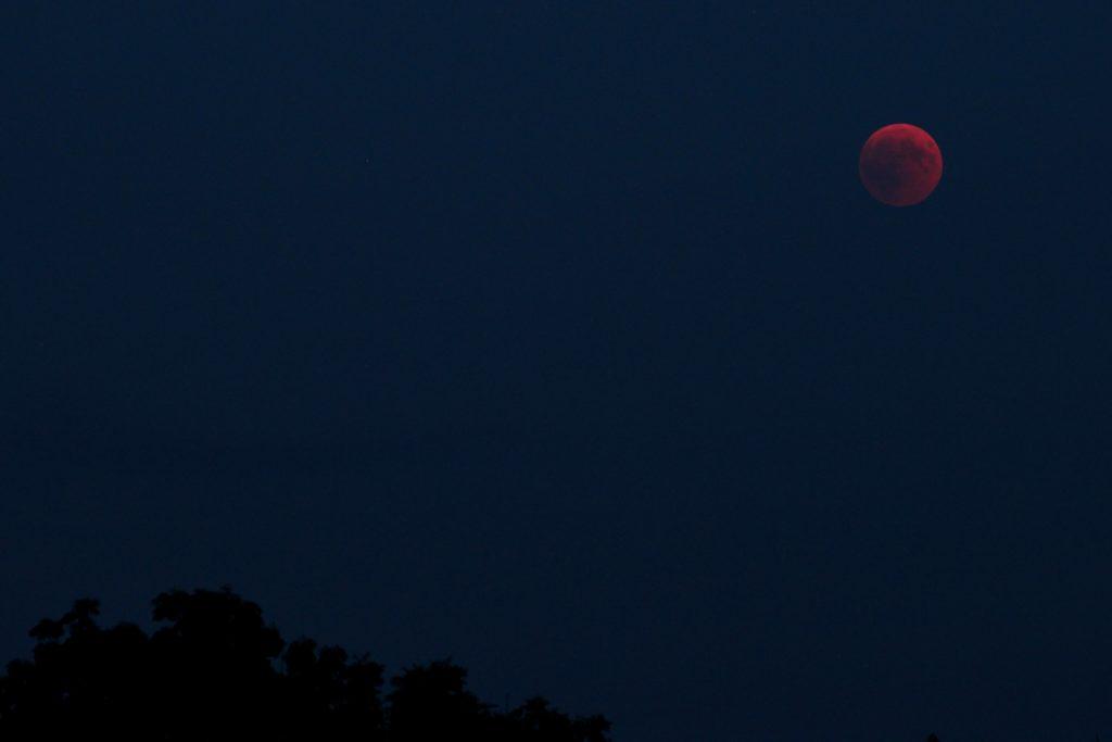 Der bereits voll verfinsterte, aufgehende Mond hatte es zunächst schwer, sich gegen den horizontnahen Dunst zu behaupten. 27.7.2018 22:20 MESZ, Canon EOS6D und Leica Elmarit-R 180, ISO 800, Blende 2.8, 1 Sekunde Belichtungszeit