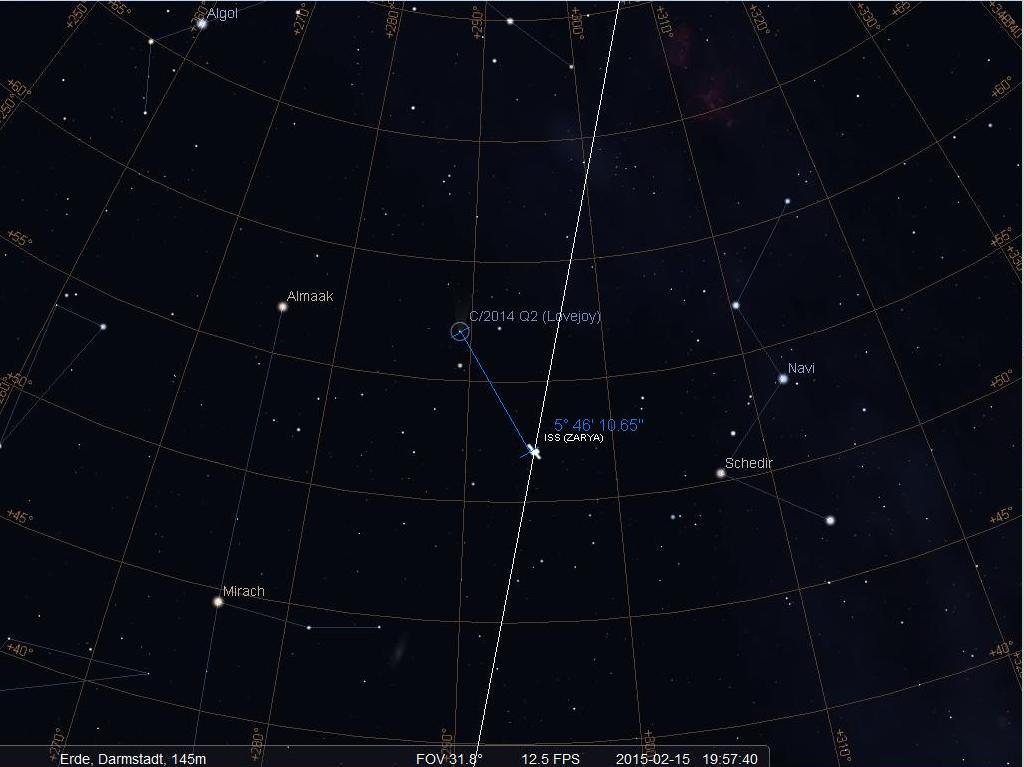 Die ISS kurz vor dem Erdschatteneintritt und Komet Lovejoy am 15.2.2015 gegen 19:58 MEZ über Darmstadt