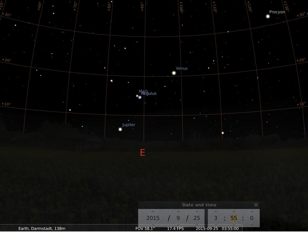 Jupiter, Mars, Regulus (Alpha Leo) und Venus am Morgen des 25.9.2015, simuliert für Darmstadt um 3:55 UTC (5:55 MESZ)