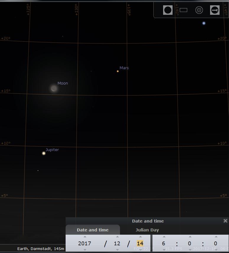 Jupiter. die schmale Sichel des abnehmenden Monds, Mars und Spica am Morgen des 14.12.2017, hier simuliert für Darmstadt um 6:00 MEZ