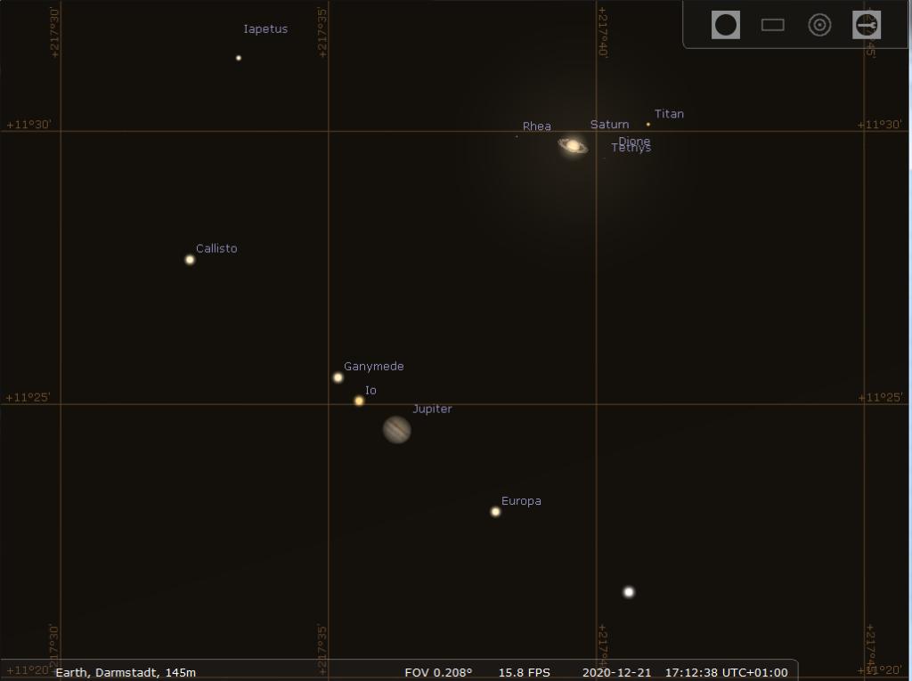 Sehr enge Konjunktion zwischen Jupiter udn aturn am Abend des 21.12.2020, hier simuliert für Darmstadt um 17:12 MEZ