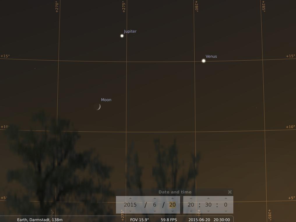Jupiter, Venus und zunehmender Mond am 20.6., simuliert für Darmstadt um 20:30 GMT (22:30 MESZ)