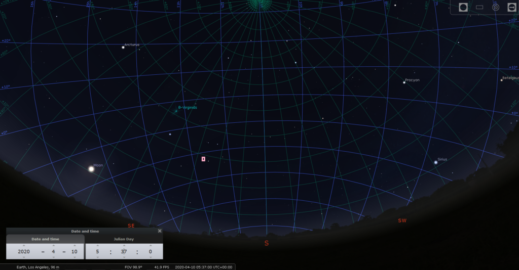 Night Sky over Los Angeles CA, with viewing Direction to the Bepi Colombo Spacecraft at 2020/4/10 5:37:00 UTC (shortly after eclipse exit). Spacecraft Elevation 28.6 deg, Range 282133 km
