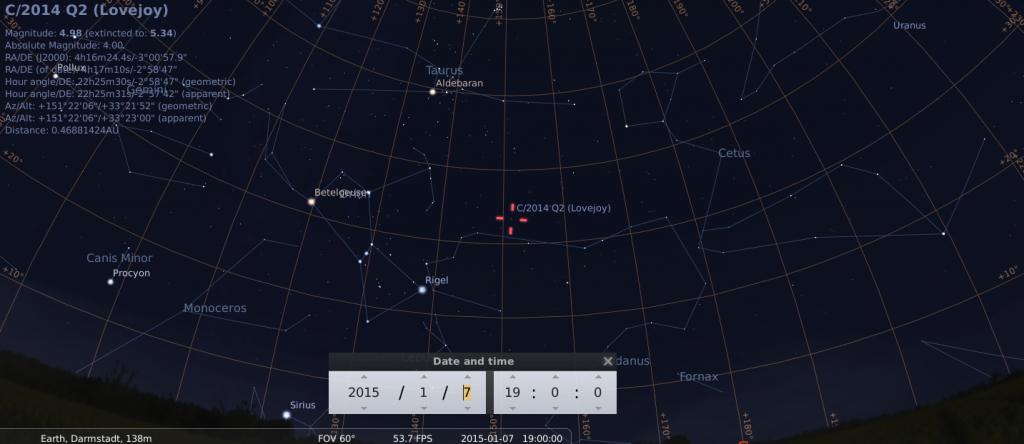 Komet C/2014 Q2 am frühen Abend des 7.1.2015, simuliert für Darmstadt um 19:00 GMT (=20:00 MEZ)
