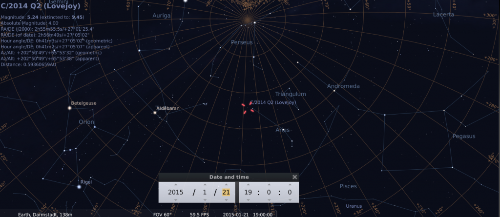 Komet C/2014 Q2 am frühen Abend des 21.1.2015, simuliert für Darmstadt um 19:00 GMT (=20:00 MEZ)