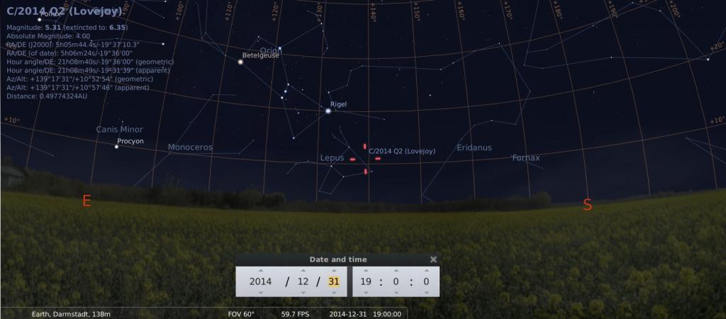 Komet C/2014 Q2 am frühen Abend des 31.12.2014, simuliert für Darmstadt um 19:00 GMT (=20:00 MEZ)