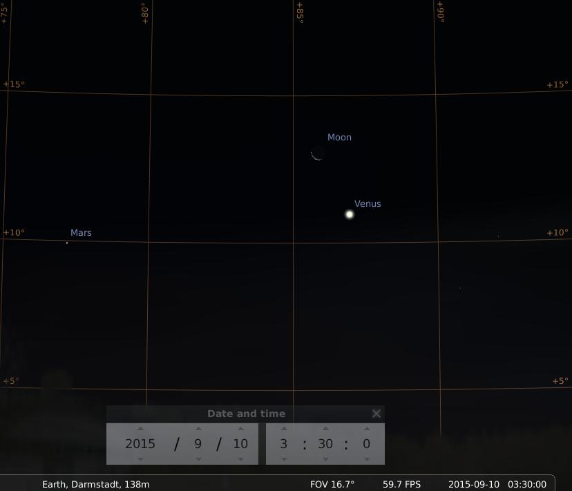 Konjunktion der abnehmenden Mondsichel mit der aufgehenden Venus im Osthimmel am 10.9.2015, simuliert für Darmstadt um 03:30 GMT (=05:30 MESZ)