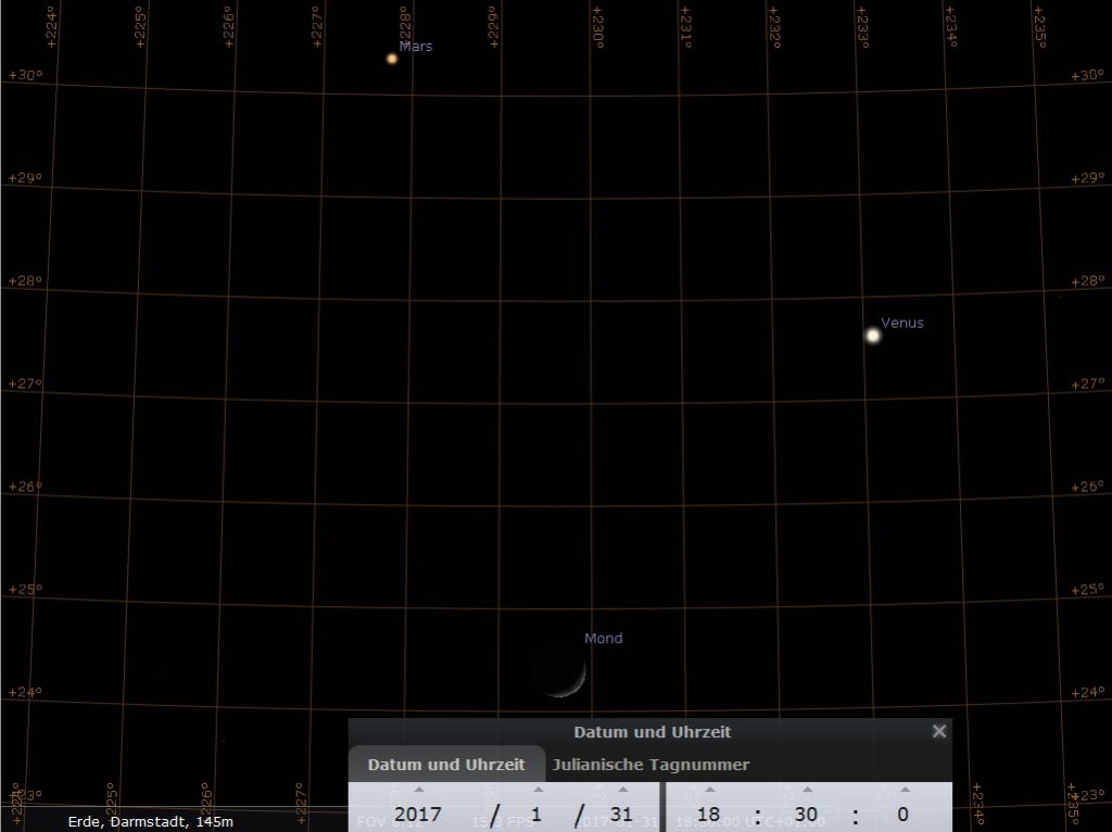 Der Syzygienkönig empfiehlt: Mars, zunehmender Mond und Venus am 31.1.2017, hier simuliert für Darmstadt um 18:30 MEZ