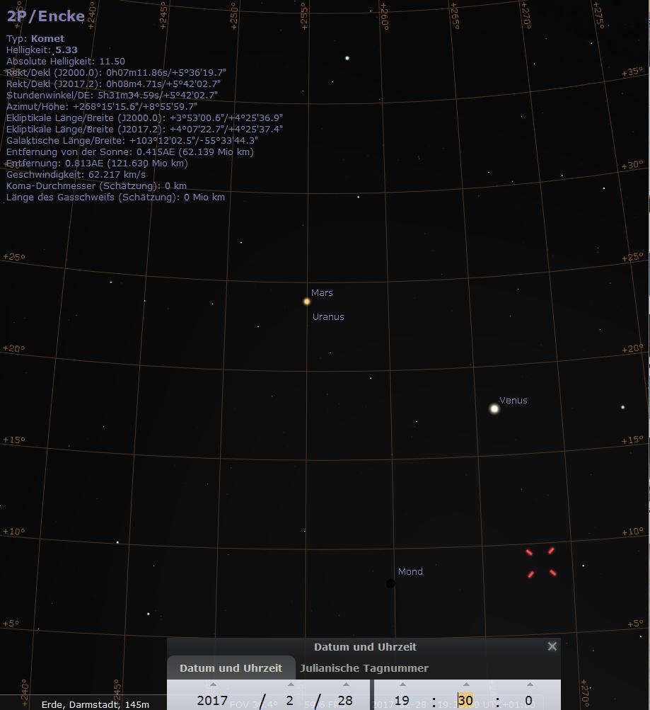 Der Syzygienkönig empfiehlt: Mars, Uranus, zunehmender Mond. Venus und Komet 2P/Encke am Abend des 28.2.2017, hier simuliert für Darmstadt um 19:30 MEZ.