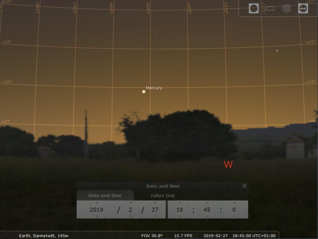 Merkur nahe seiner größten Elongation, hier simuliert für Darmstadt am 27.2.2019 um 18:45 MEZ