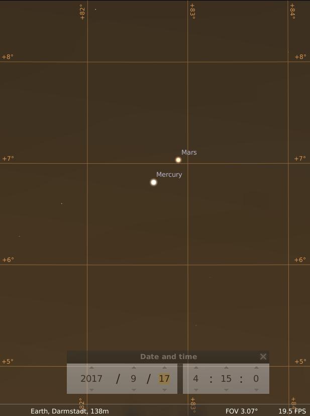 Enge Konjunktion von Merkur und Mars am Morgen des 17.9.2017, hier simuliert für Darmstadt um 04:15 UTC (06:15 MESZ)