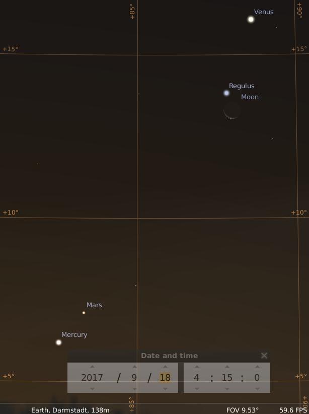 Konjunktion der abnehmenden Mondsichel mit Regulus, Venus, Merkur und Mars am Morgen des 18.9.2017, hier simuliert für Darmstadt um 4:15 UTC (6:15 MESZ)