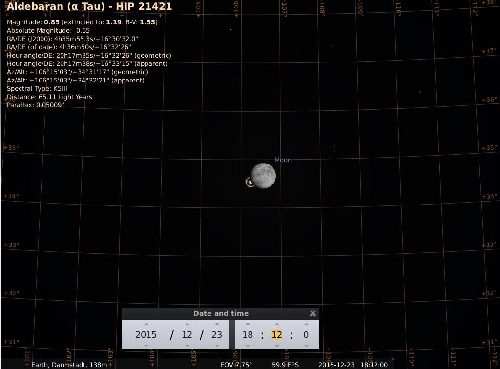 Bedeckung von Aldebaran durch den zunehmenden Mond am 23.12.2015, simuliert für Darmstadt um 18:12 GMT (=19:12 MEZ, Beginn der Bedeckung). Der Austritt erfolgt etwas mehr als eine Stunde später.