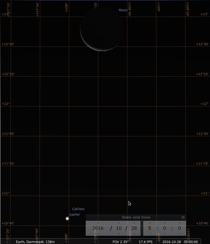 Konjunktion von Jupiter und abnehmendem Mond am Morgen des 28.10.2016, hier simuliert für Darmstadt um 5:00 UTC (=7:00 MESZ)