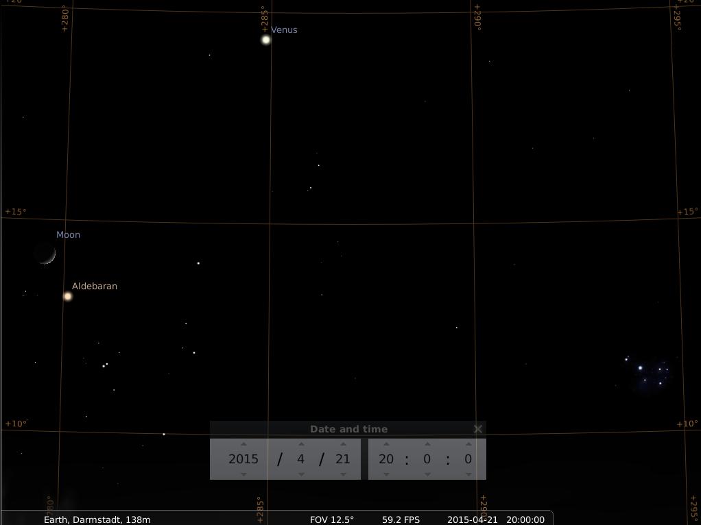 Der zunehmende Mond sehr nahe bei Aldebaran und naher bei der Venus am 21.4.2015,. hier simuliert für Darmstadt um 20:00 GMT (22:00 MESZ)