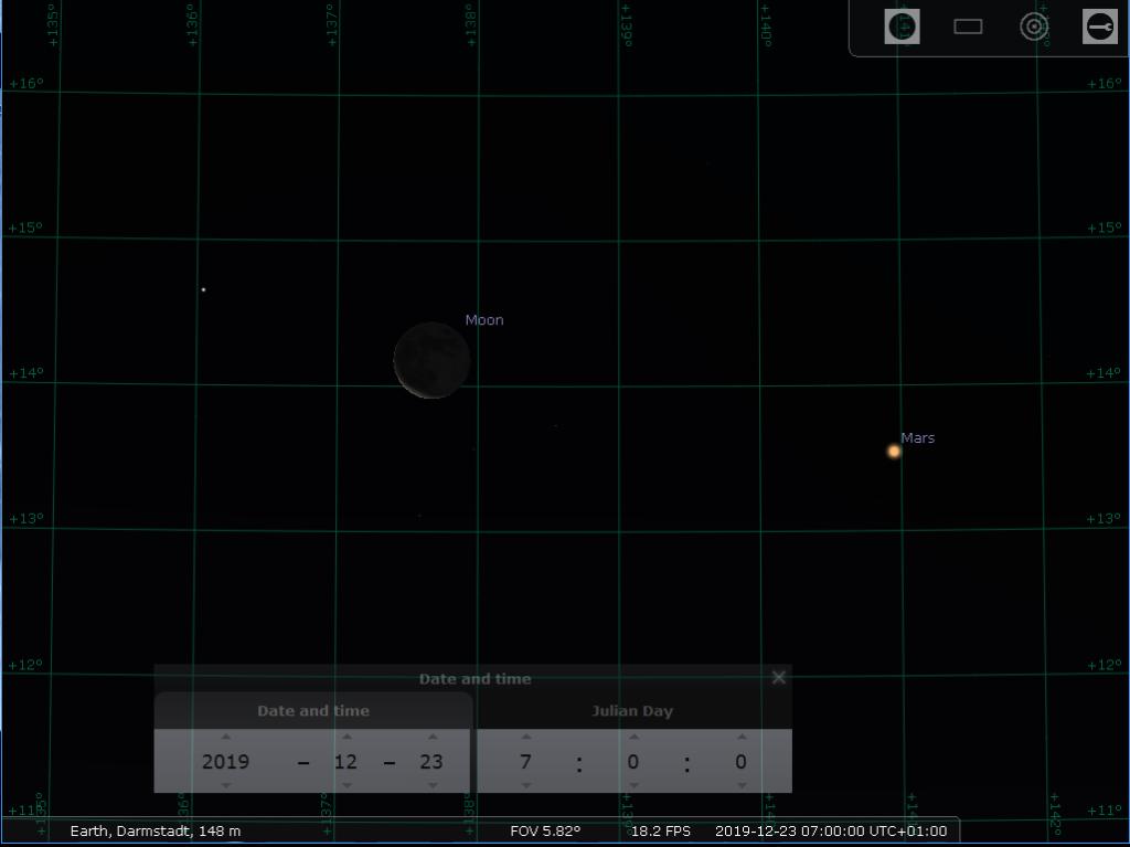 Morgenkonjunktion der abnehmenden Mondsichel mit Mars am Morgen des 23.12.2019, hier simuliert für Darmstadt um 07:00 MEZ