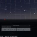 Der verfinsterte Mond, der sehr helle Mars (weniger Tage vor Opposition), Saturn, Jupiter, Venus und möglicherweise auch die ISS gleichzeitig am Abendhimmel des 27.7.2018, hier simuliert für Darmstadt um 22:21 MESZ