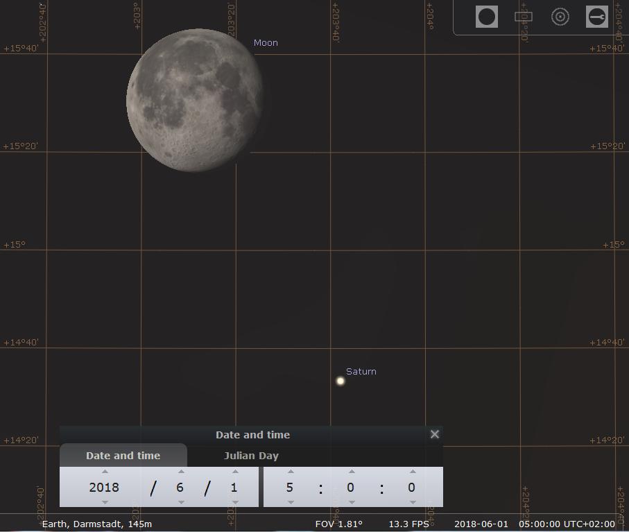Der Mond im dritten Viertel begegnet Saturn im Winkelabstand von 1 Grad, hier simuliert für Darmstadt am 1.6.2018 um 5:00 MESZ
