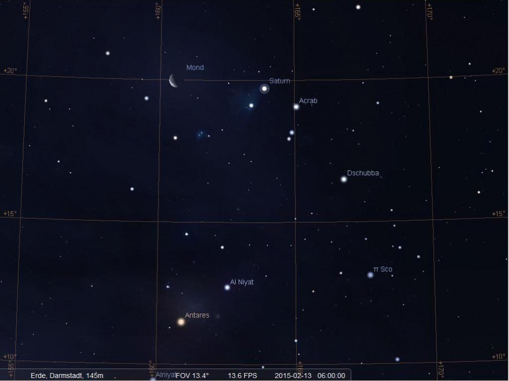 Der Mond und Saturn im Skorpion am Morgen des 13.2.2015, hier simuliuert für Darmstadt um 06:00 MEZ