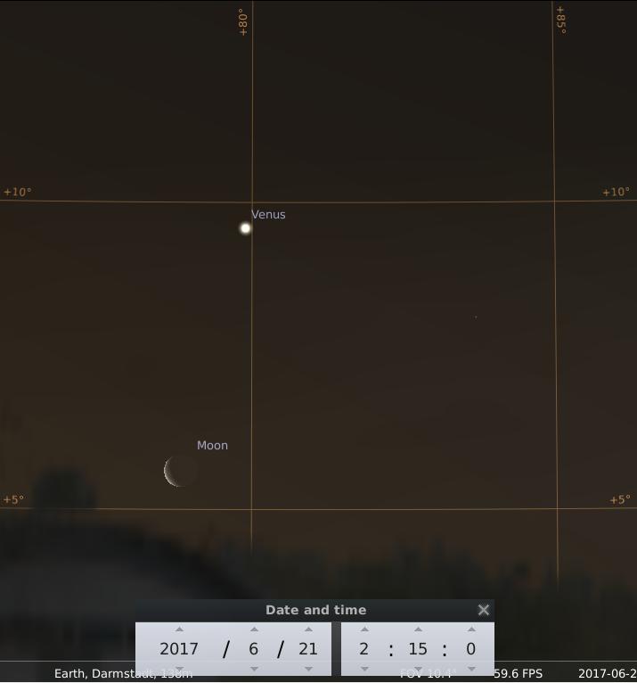 Venus und der Mond am frühen Morgen des 21.6.2017, hier simuliert für Darmstadt um 02:15 UTC (04:15 MESZ)