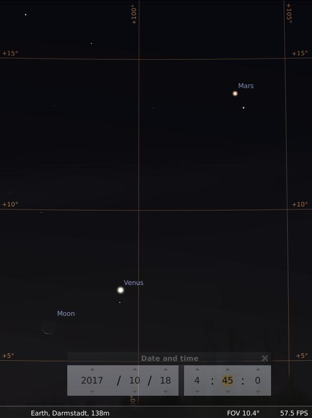 Konjunktion der abnehmenden Mondsichel mit Venus und Mars am Morgen des 18.10.2017, hier simuliert für Darmstadt um 4:45 UTC (6:45 MESZ)
