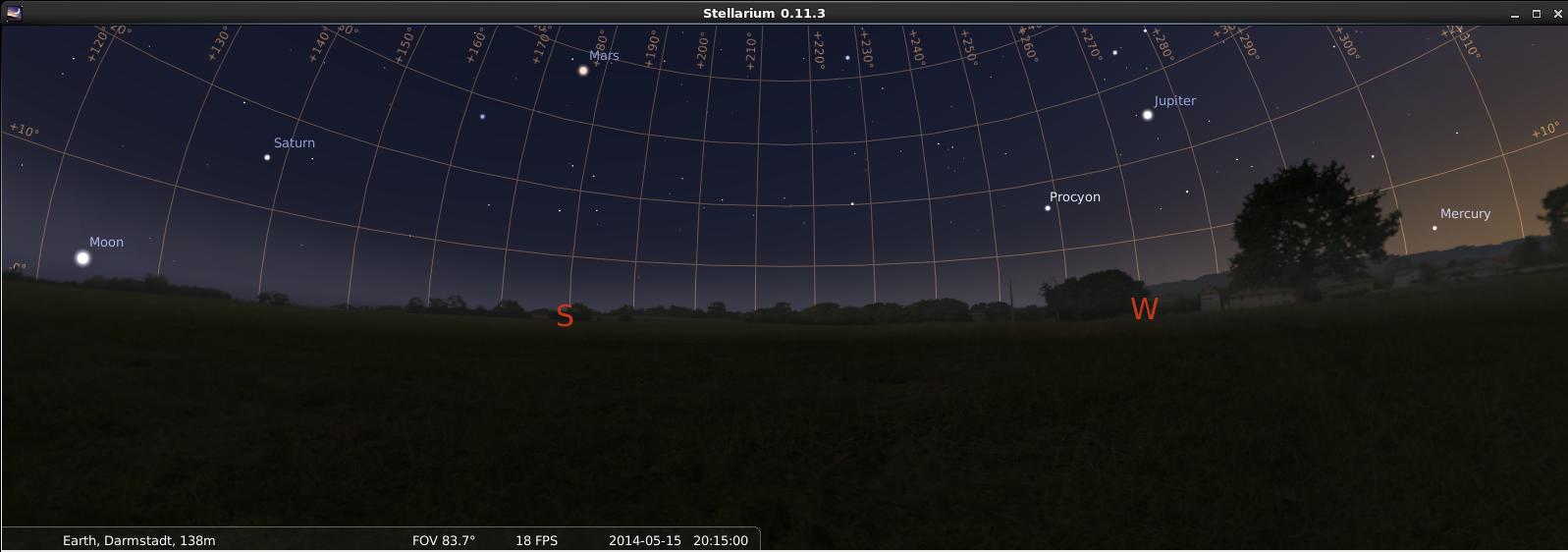 Planetenkette entlang der Ekliptik vom aufgehenden Mond bis zum untergehenden Merkur, simuliert für den Standort Darmstadt und den 15.5.2014 um 20:15 GMT, also 22:15 MEZ.