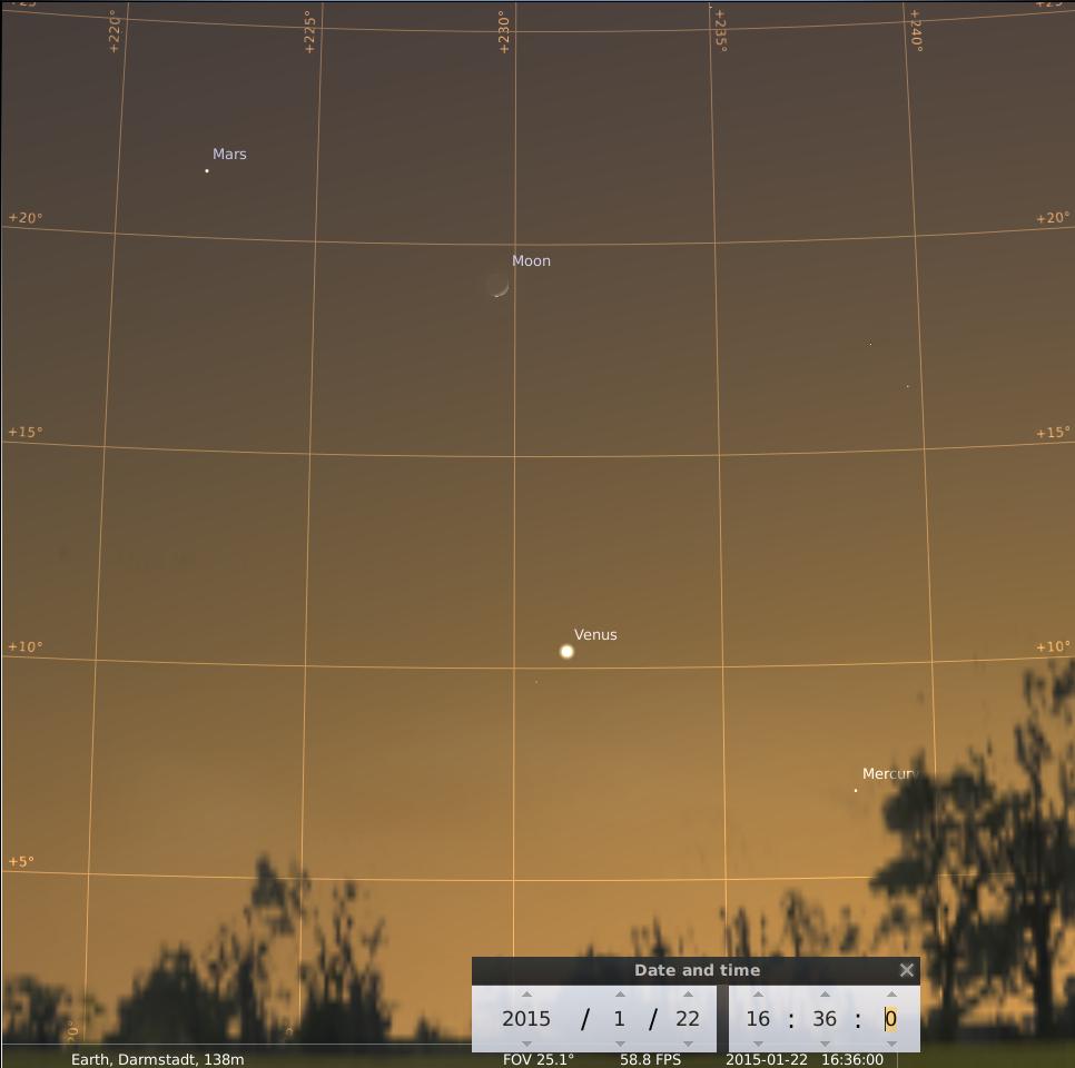 Planetenparade mit Mond am 22.1.2015, simuliert für den Standort Darmstadt um 16:36 GMT (17:36 MEZ)