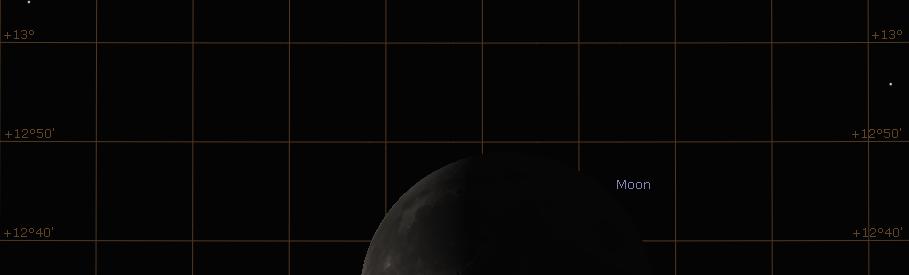 Saturn und der abnehmende Mond am Morgen des 29.3.2019 im Winkelabstand von 45 Bogenminuten, hier simuliert für Darmstadt um 05:20 MESZ.