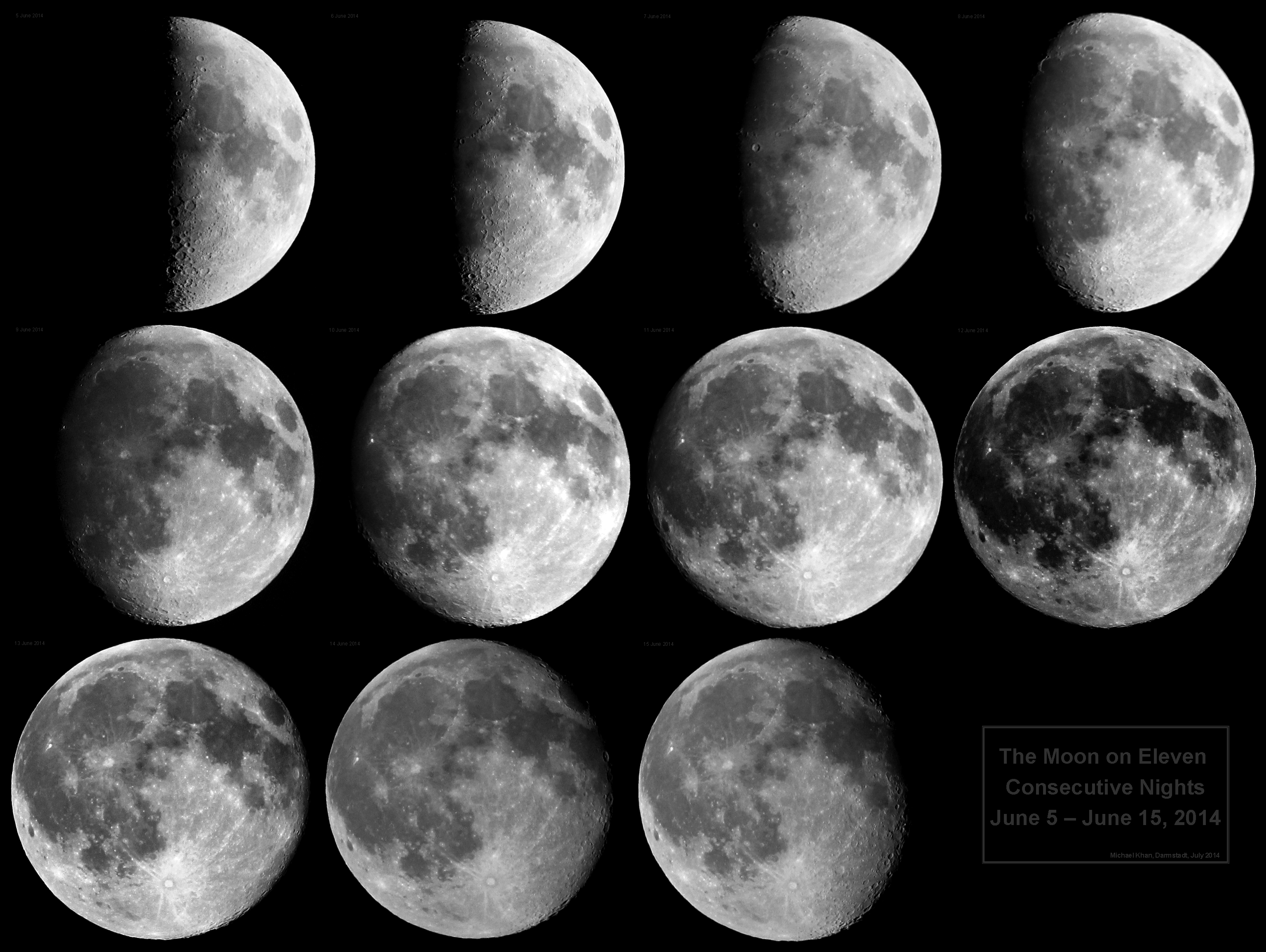 The Moon on eleven consecutive nights