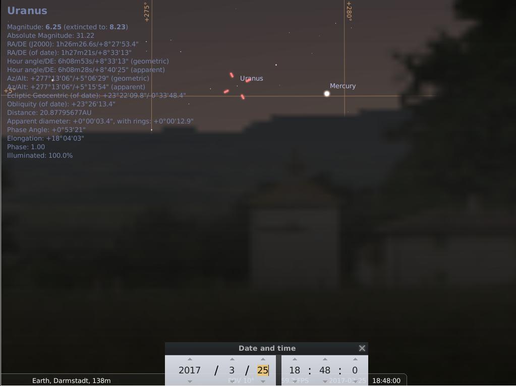 Uranus und Merkur am 25.3.2017, hier simuliert für Darmstadt um 18:48 UTC (19:48 MEZ)