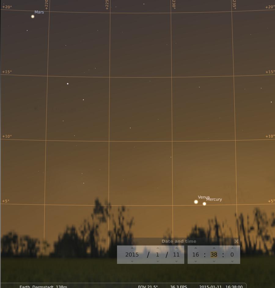 Enge Konjunktion zwischen Merkur und Venus am 11.1.2015, simuliert für Darmstadt um 16:38 GMT (=17:38 MEZ)