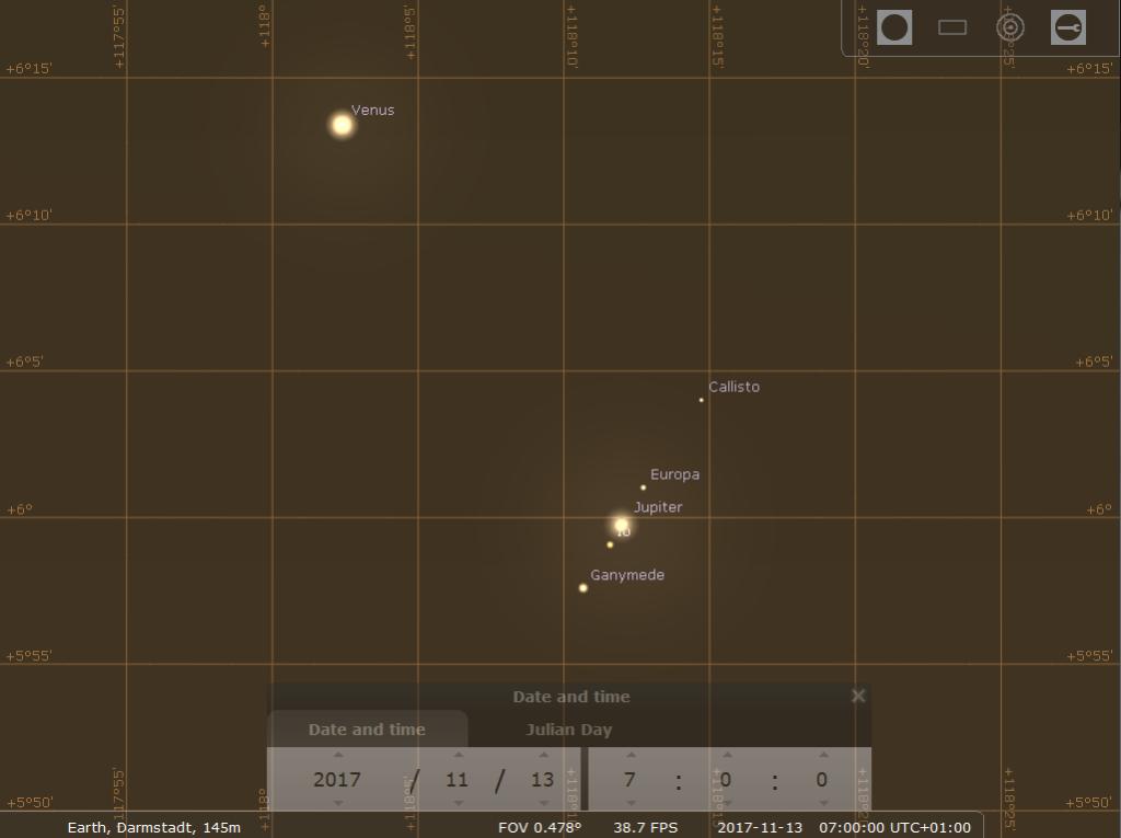 Enge Venus-Jupiter-Konjunktion am Morgen des 13.11.2017, hier simuliert für Darmstadt um 07:00 MEZ