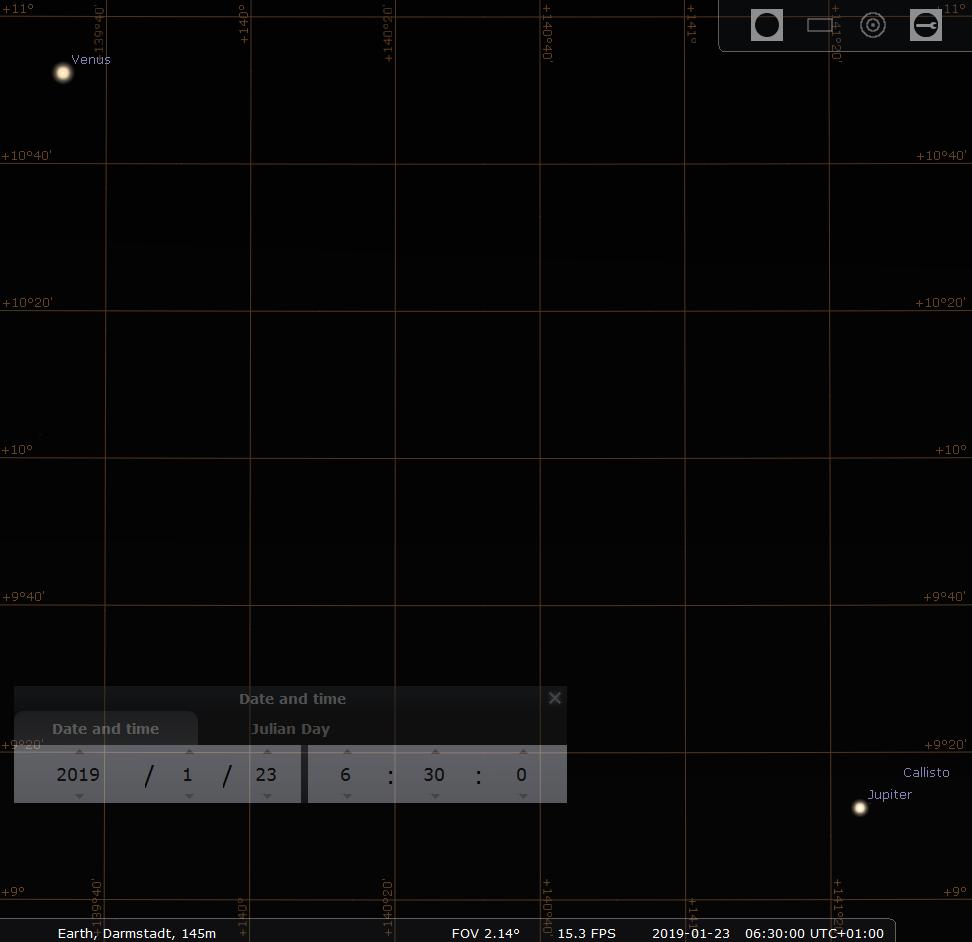 Begegnung von Venus und Jupiter im Winkelabstand von 2.5 Grad am Morgen des 23.1.2019, hier simuliert für Darmstadt um 06:30 MEZ