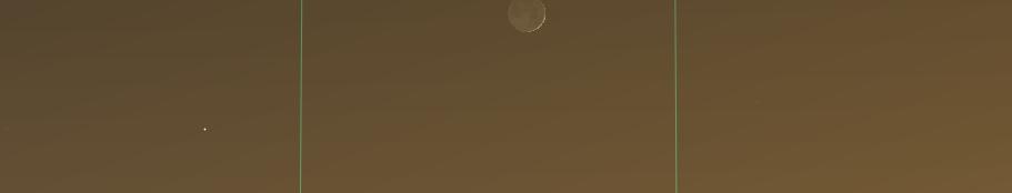 Konjunktion der Venus mit der schmalen Sichel des zunehmenden Monds am 28.12.2019, hier simuliert für Darmstadt um 17:15 MEZ