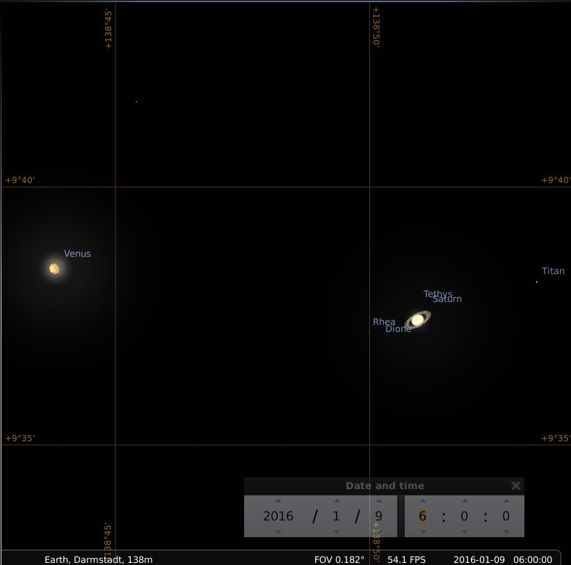 Sehr enge Konjunktion von Venus und Satun am 9.1.2016, simuliert für Darmstadt um 06:00 UTC(=07:00 MEZ)