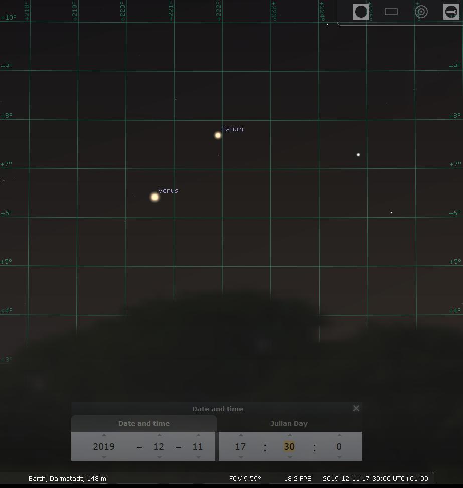 Konjunktion von Venus und Saturn am Abend des 11.12.2019, hier simuliert für Darmstadt um 17:30 MEZ