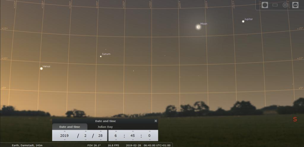 Venus, Saturn, der abnehmende Mond und Jupiter am Morgen des 28.2.2019. hier simuliert für Darmstadt um 6:45 MEZ.