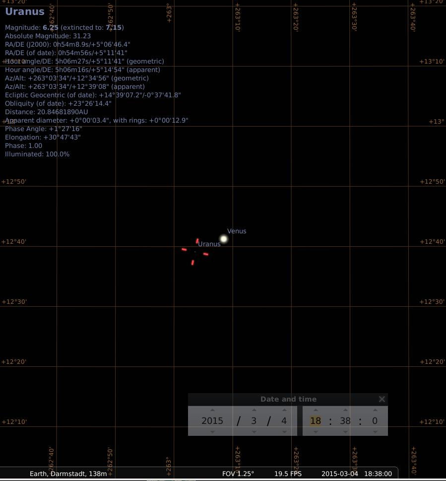 Sehr enge Konjunktion zwischen Venus und Uranus am 4.3.2015, simuliert für Darmstadt am frühen Abend