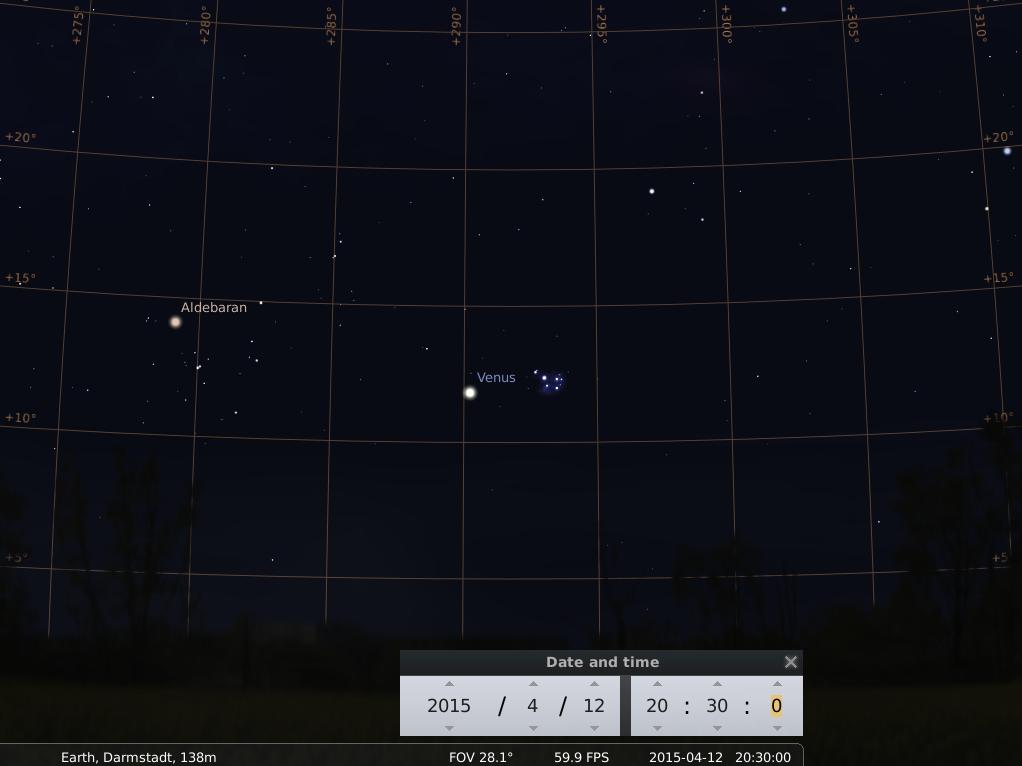 Venus passiert die Plejaden am 12.4.2015, simuliert für Darmstadt um 20:30 GMT (22:30 MESZ)