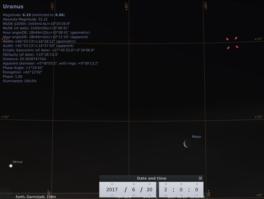 Venus, der Mond und Uranus am frühen Morgen des 20.6.2017, hier simuliert für Darmstadt um 02:00 UTC (04:00 MESZ)