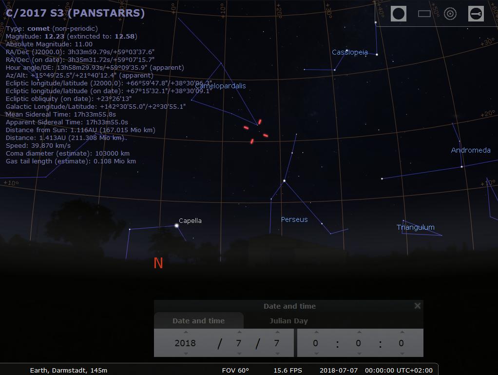 Beobachtungsmöglichkeit für Komet C/2017 S3 (Panstarrs) am Nordhimmel, hier simuliert für Darmstadt am 7.7.2018 00:00 MESZ