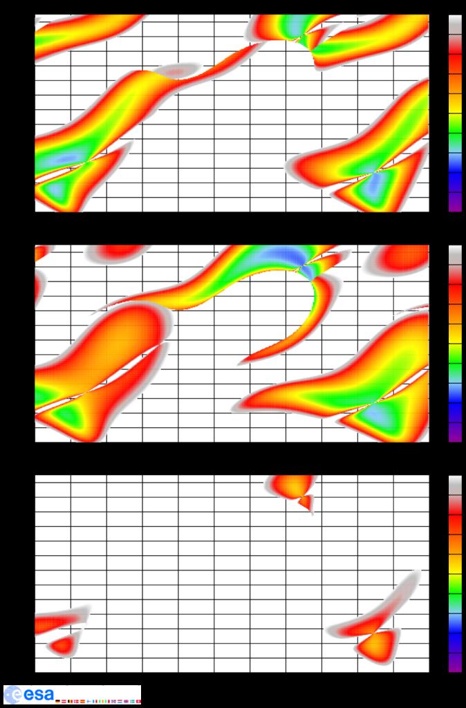 Startfenster von der Erde zum Mars von Anfang 2016 bis Herbst 2018. Gezeigt ist die erforderliche hyperbolische Erdfluchtgeschwindigkeit, die resultierende hyperbolische Mars-Ankunftsgeschwindigkeit und die Summe der beiden als grober Richtwert, alle Werte in km/s.