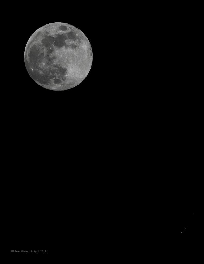 Der Vollmond und Jupiter am 10.4.2017, ca. 22:45 MESZ. Komposit aus drei Einzelaufnahmen mit unterschiedlichen Belichtungen, canon EOS600D und TS-Optics TSAPO65Q Quadruplet-Refraktor