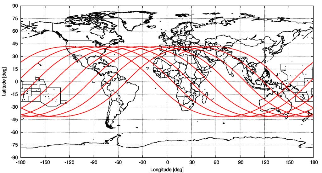 Possible groundtrack of object 2021-035-B, starting on 2021/5/7 12:00 UTC, source: Michael Khan