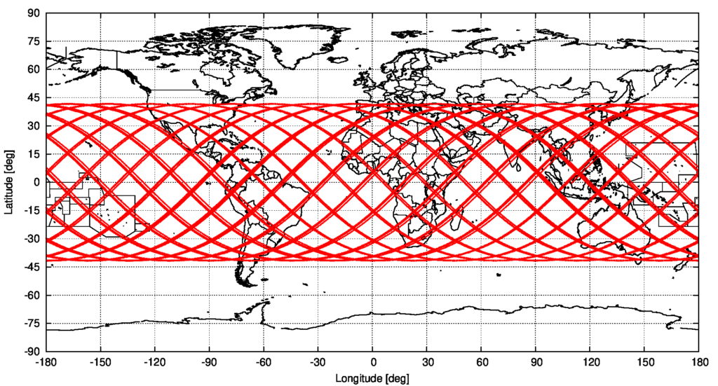 Computed groundtrack of object 2021-035-B, starting on 2021/5/9 13:48:22 UTC and ending at the predicted re-entry time of 05:22:16 UTC, source: Michael Khan