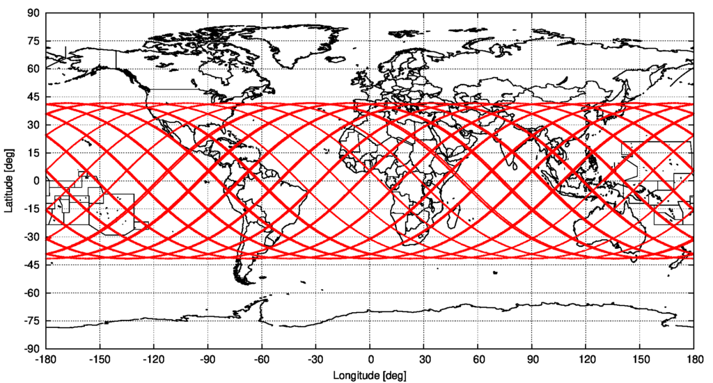 Computed groundtrack of object 2021-035-B, starting on 2021/5/6 11:59:10 UTC and ending at the predicted re-entry time of 2021/5/9 04:21:11 UTC, source: Michael Khan