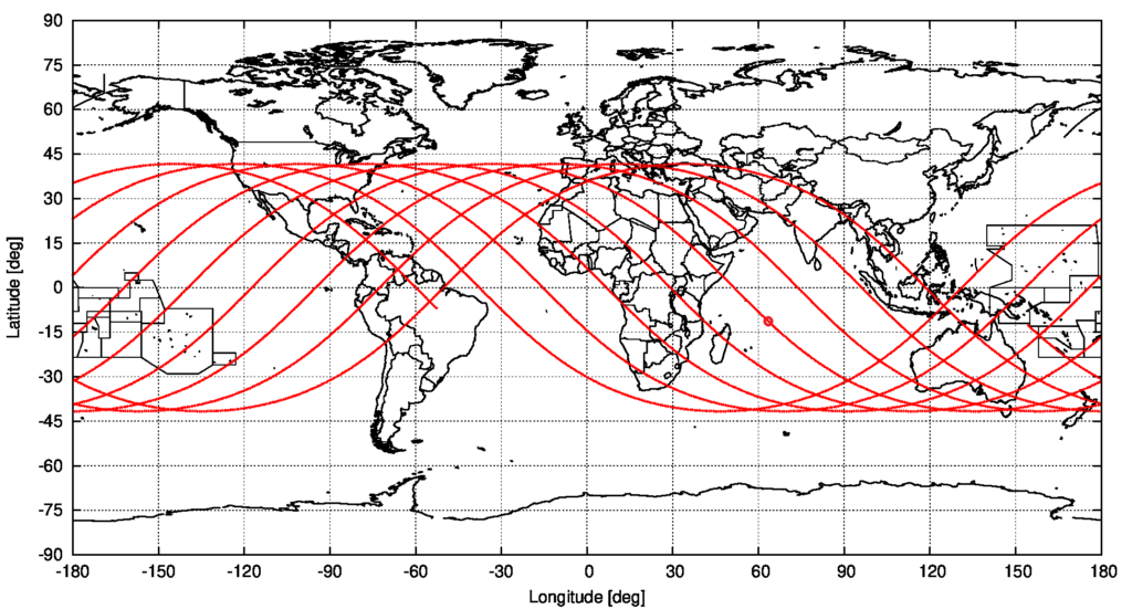 Computed ground track of object 2021-035-B, from the start to the end of the currently assumed uncertainty interval. The assumed predicted entry location is marked. source: Michael Khan