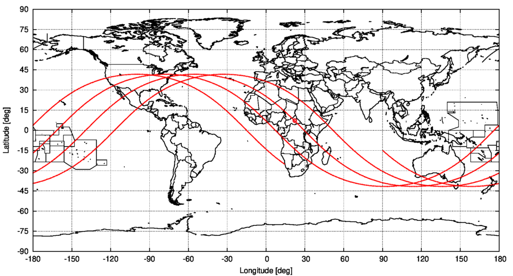 Computed ground track of object 2021-035-B, from the start to the end of the currently assumed uncertainty interval, based on the OD for 8 May 2021 04:00:47 UTC. The assumed predicted entry location is marked. source: Michael Khan