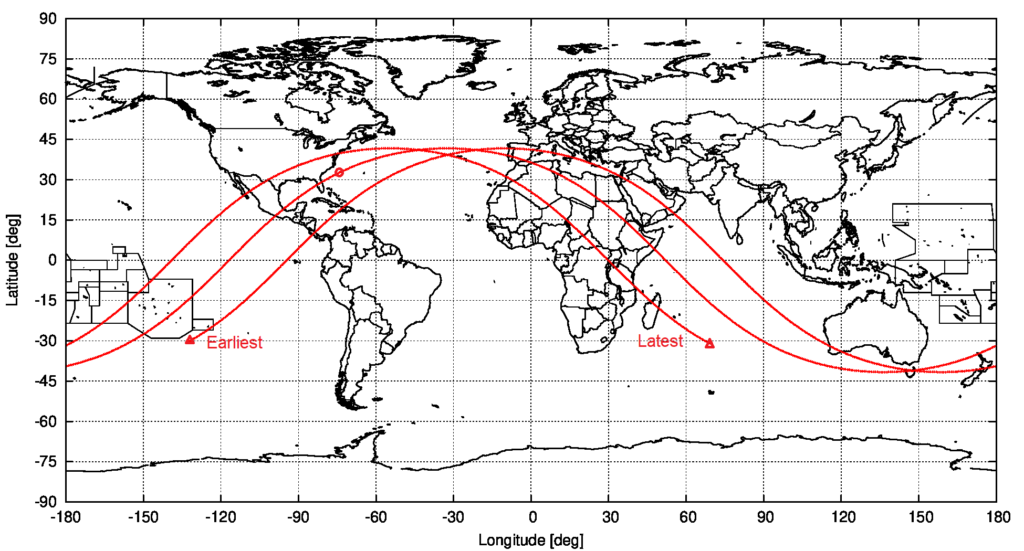 Computed ground track of object 2021-035-B, from the start to the end of the currently assumed uncertainty interval, based on the OD for 8 May 2021 09:36:19 UTC. The assumed predicted entry location is marked. source: Michael Khan