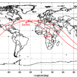 Computed ground track of object 2021-035-B, from the start to the end of the currently assumed uncertainty interval, based on the OD for 8 May 2021 12:31:57 UTC. The assumed predicted entry location is marked. source: Michael Khan